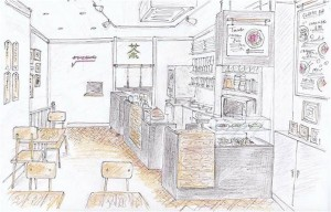 artists impression of the new cafe in Soho for Tombo